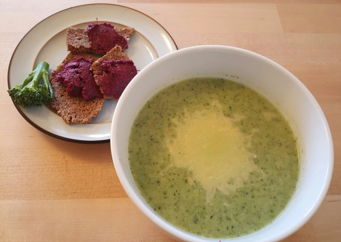Brocolli soup with beetroot tapendade 2