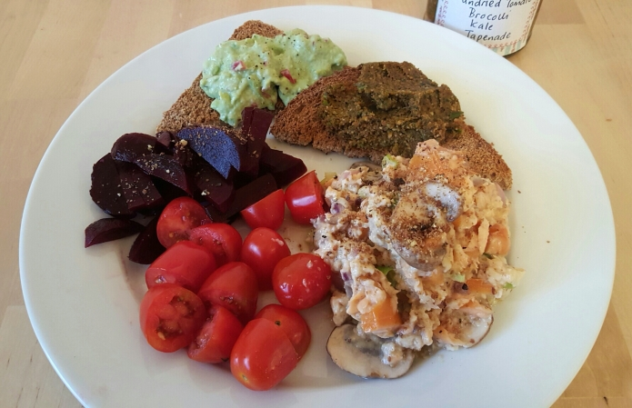 salmon kale tapenade breakfast