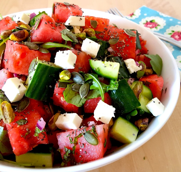 Watermelon salad with pistachio and feta 24