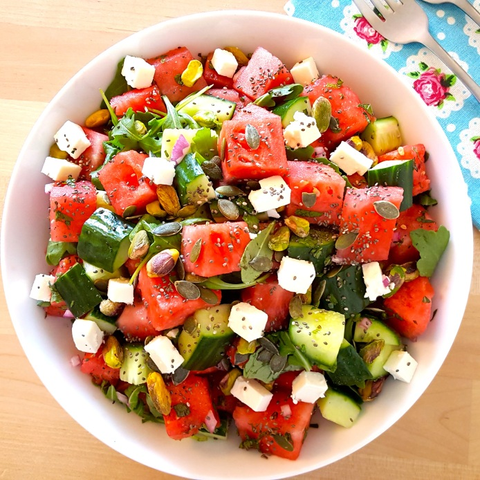 Watermelon salad with pistachio feta 20